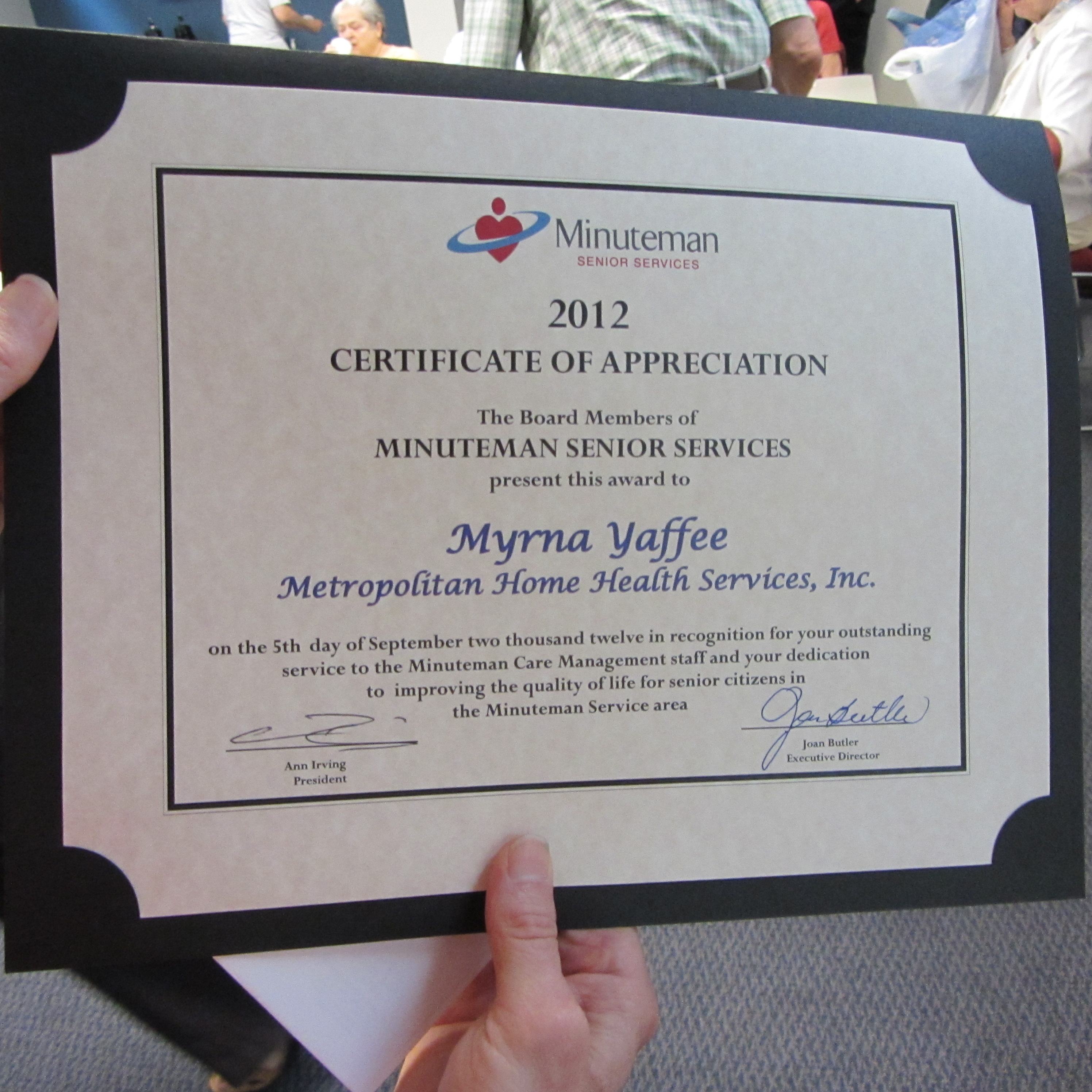 Myrna Yaffee Metropolitan Home Health Services Inc Service